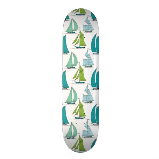Sailboats On The Water Pattern Skateboard