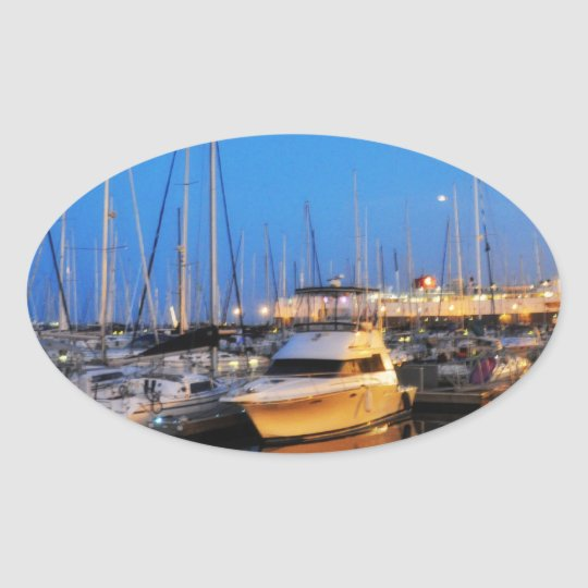 Sailboats parked by Chicago Navy Pier Oval Sticker
