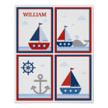 Sailboats Poster for Boy's Room