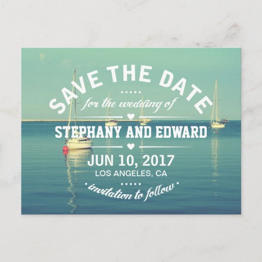sailboats summer save the date postcard wording zazzle com