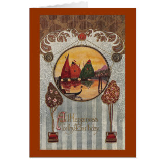 Sailboats Vignette Vintage Birthday Greeting Card