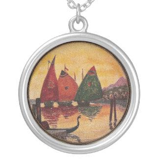 Sailboats Vignette Vintage Birthday Custom Necklace