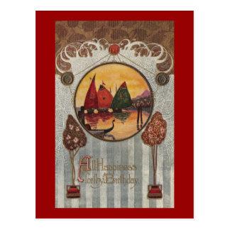 Sailboats Vignette Vintage Birthday Postcard