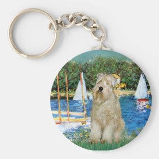 Sailboats -Wheaten Terrier 1 Keychain