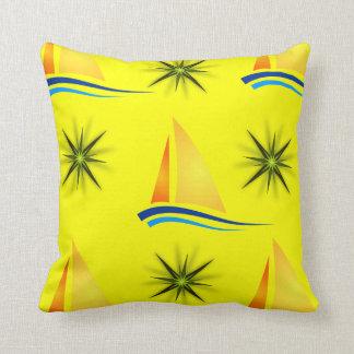 sailboats yellow throw pillow decorative