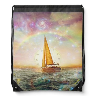 Ocean Themed Saile The Sea Of Time Drawstring Backpack