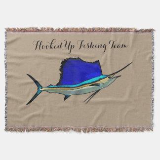 Sailfish Boat name throw blanket