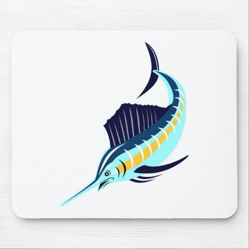 sailfish diving down isolated on white mousepads