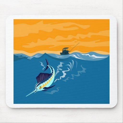 sailfish diving down sea ocean mousepad