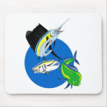 Sailfish dorado dolphin fish and bluefin tuna mouse pads