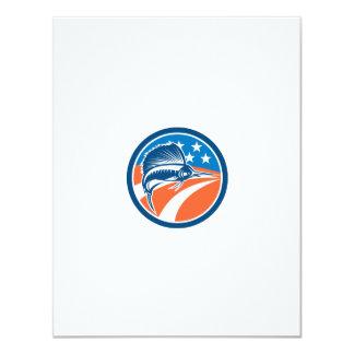 Sailfish Fish Jumping American Flag Circle Retro 4.25x5.5 Paper Invitation Card