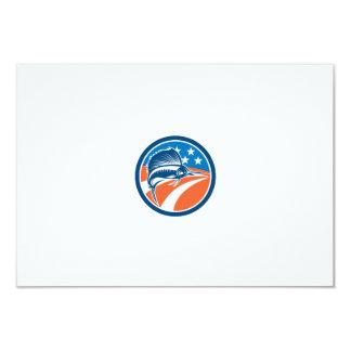 Sailfish Fish Jumping American Flag Circle Retro 9 Cm X 13 Cm Invitation Card
