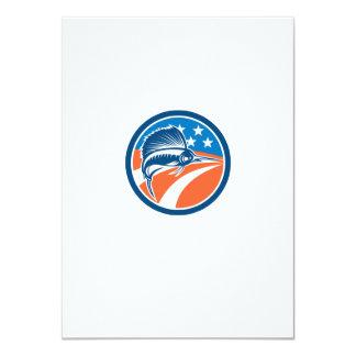 Sailfish Fish Jumping American Flag Circle Retro 11 Cm X 16 Cm Invitation Card