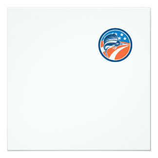 Sailfish Fish Jumping American Flag Circle Retro 13 Cm X 13 Cm Square Invitation Card