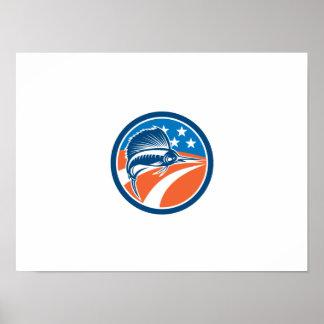 Sailfish Fish Jumping American Flag Circle Retro Poster