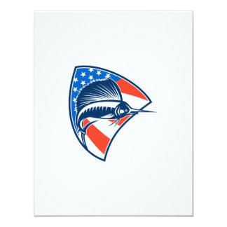 Sailfish Fish Jumping American Flag Shield Retro 4.25x5.5 Paper Invitation Card