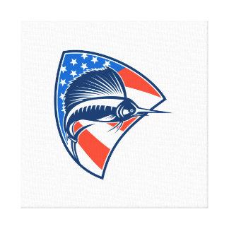 Sailfish Fish Jumping American Flag Shield Retro Gallery Wrap Canvas