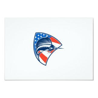 Sailfish Fish Jumping American Flag Shield Retro 9 Cm X 13 Cm Invitation Card