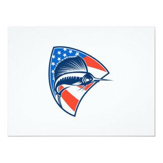 Sailfish Fish Jumping American Flag Shield Retro 17 Cm X 22 Cm Invitation Card