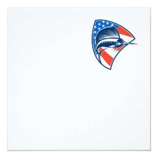 Sailfish Fish Jumping American Flag Shield Retro 13 Cm X 13 Cm Square Invitation Card