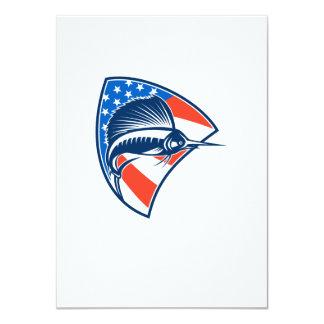 Sailfish Fish Jumping American Flag Shield Retro 11 Cm X 16 Cm Invitation Card