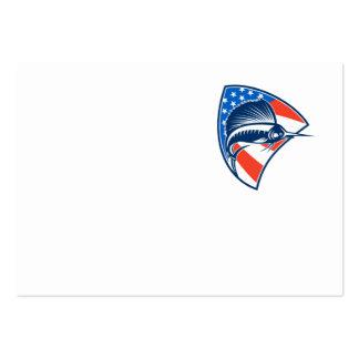 Sailfish Fish Jumping American Flag Shield Retro Large Business Card