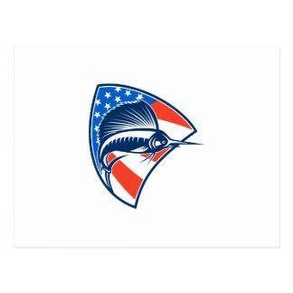 Sailfish Fish Jumping American Flag Shield Retro Post Cards