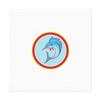 Sailfish Fish Jumping Circle Cartoon Gallery Wrapped Canvas