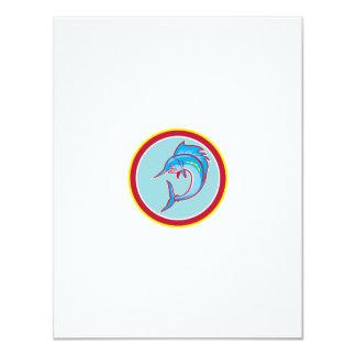 Sailfish Fish Jumping Circle Cartoon 11 Cm X 14 Cm Invitation Card