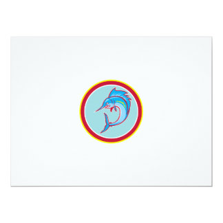 Sailfish Fish Jumping Circle Cartoon 17 Cm X 22 Cm Invitation Card