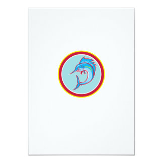 Sailfish Fish Jumping Circle Cartoon 11 Cm X 16 Cm Invitation Card