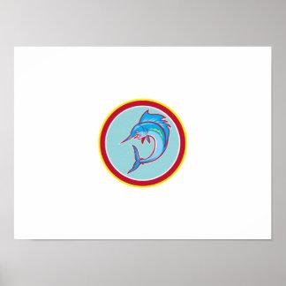 Sailfish Fish Jumping Circle Cartoon Posters