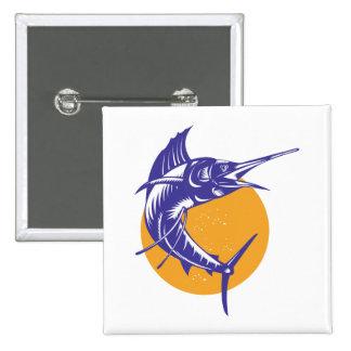 Sailfish Fish Jumping Retro 2 Inch Square Button