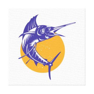 Sailfish Fish Jumping Retro Stretched Canvas Print