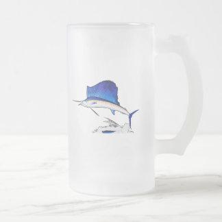 Sailfish Frosted Glass Beer Mug