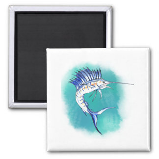 Sailfish in Watercolor Refrigerator Magnet