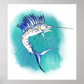Sailfish in Watercolor Poster