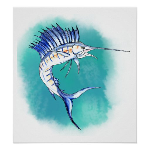 Sailfish in Watercolor Print