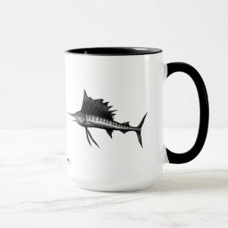 Sailfish ink pen drawing art mug