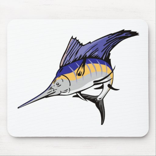 sailfish jumping front view isolated on white mouse pads