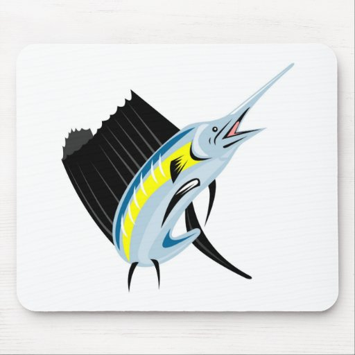 sailfish jumping front view isolated on white mouse pad