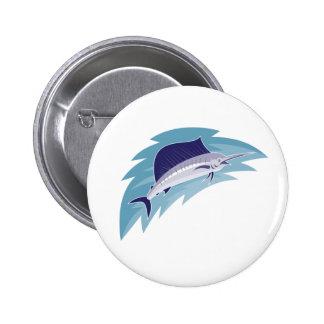 sailfish jumping retro style 2 inch round button