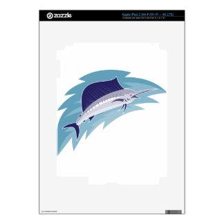 sailfish jumping retro style iPad 3 decal