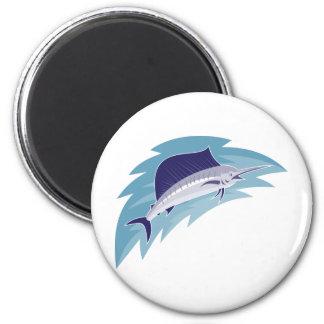 sailfish jumping retro style refrigerator magnets