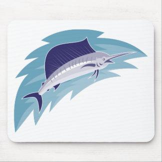sailfish jumping retro style mouse pad