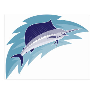 sailfish jumping retro style postcard
