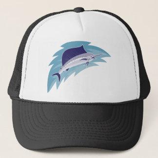 sailfish jumping retro style trucker hat