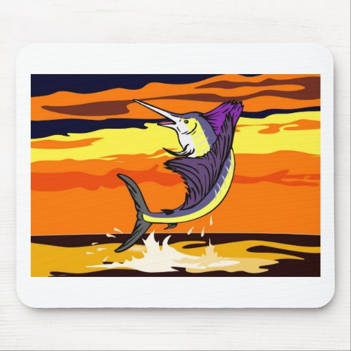 sailfish jumping sea with sunset mouse pads