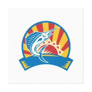 Sailfish Jumping Sunburst Woodcut Retro Gallery Wrap Canvas