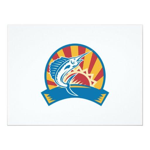 Sailfish Jumping Sunburst Woodcut Retro Personalized Invite
